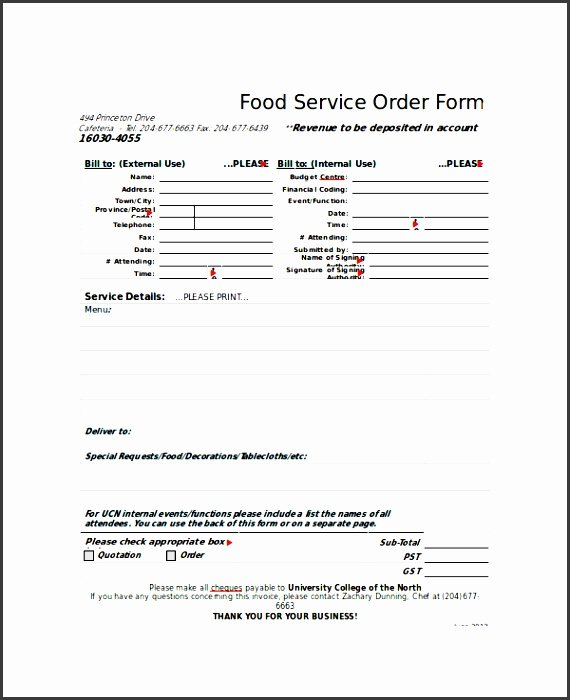 Food order form Template Fresh 8 Easy to Use Sample order form Template Sampletemplatess Sampletemplatess