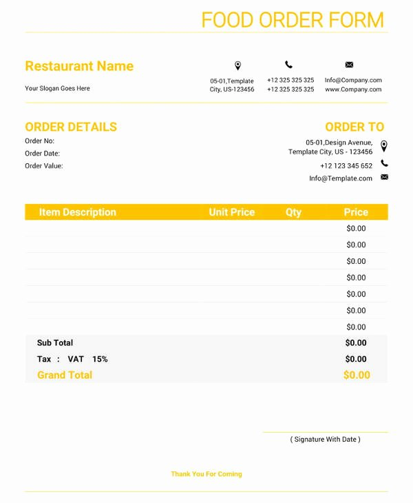 Food order form Template Inspirational Free 20 order form Templates In Pdf Word