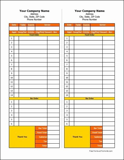 Food order form Template Inspirational Free Restaurant order form From formville