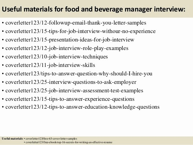 Food Server Cover Letter New top 5 Food and Beverage Manager Cover Letter Samples