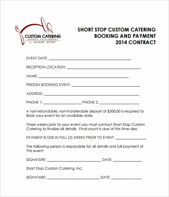 Food Service Contract Template Beautiful Free 13 Sample Catering Contract Templates In Pdf Word Apple Pages