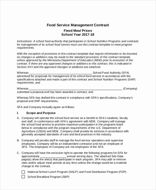 Food Service Contract Template Best Of Contract Food Service Sample 7 Examples In Word Pdf