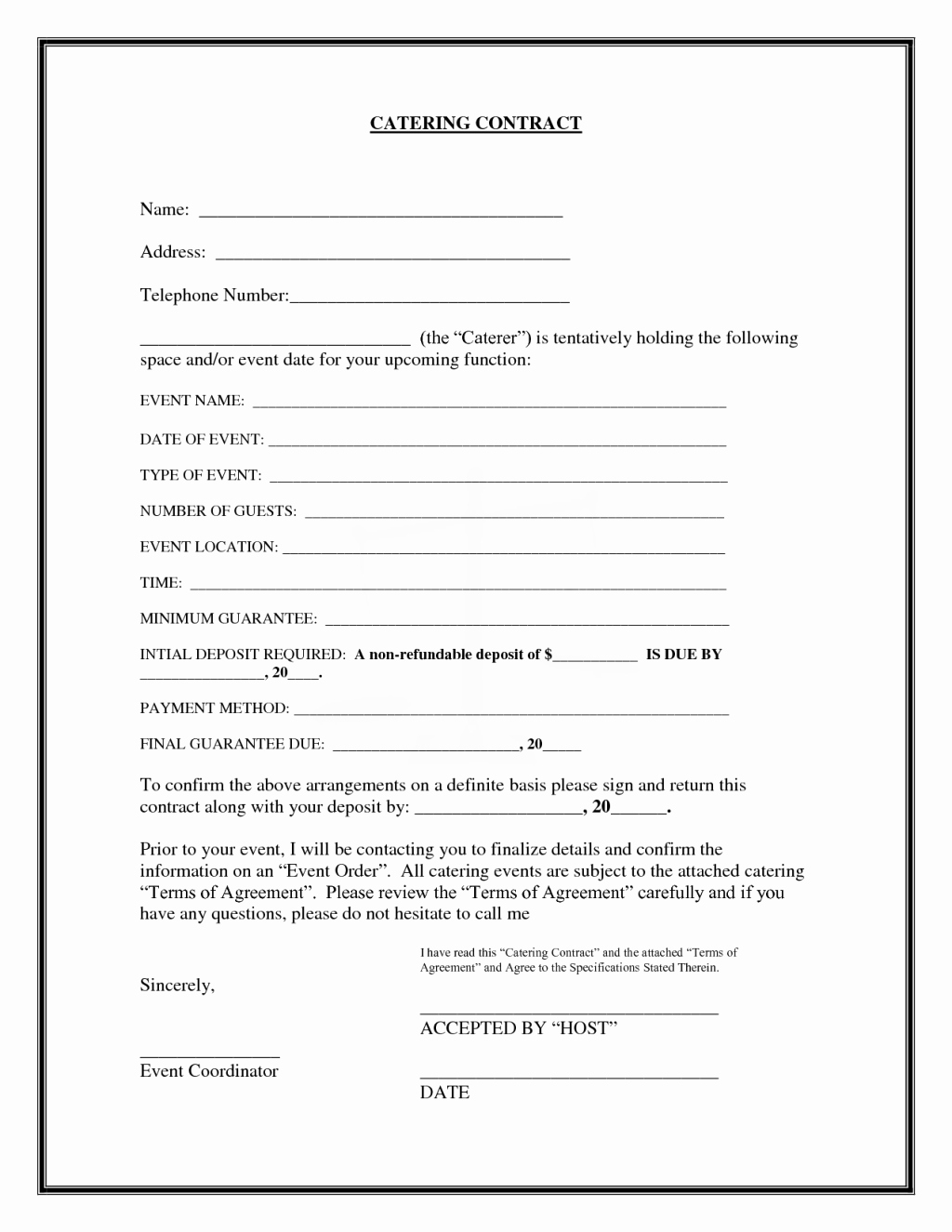 Food Service Contract Template Best Of Interesting Blank Catering Contract Template Example with Blank and Fillable Detail Information