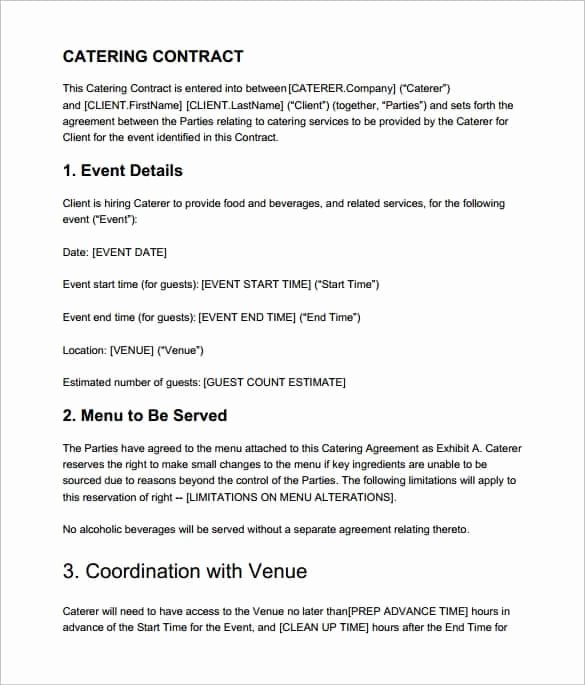 Food Service Contract Template Fresh Catering Contract Templates Find Word Templates