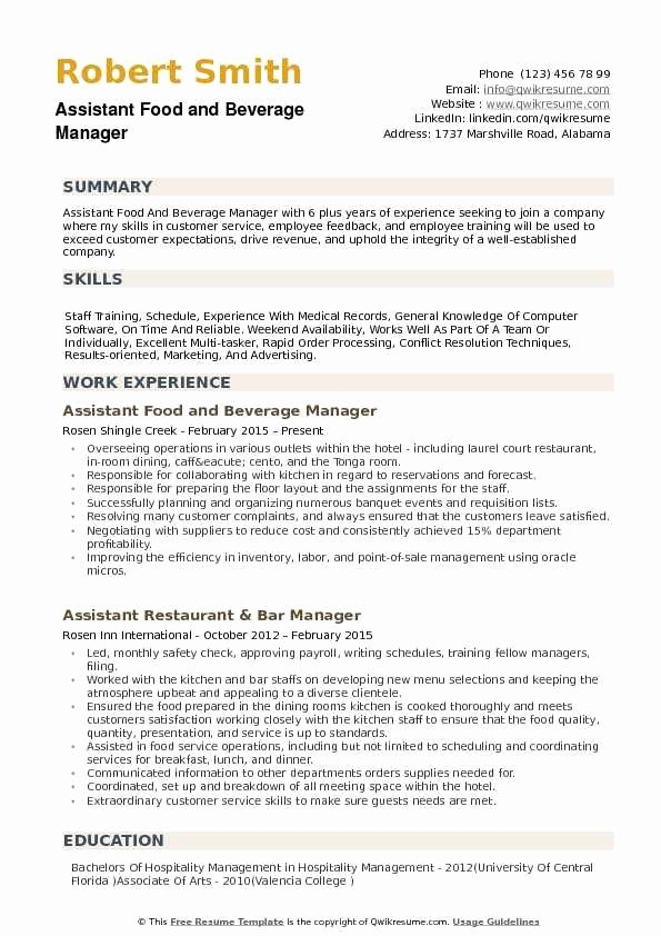 Food Service Manager Resume Awesome assistant Food and Beverage Manager Resume Samples