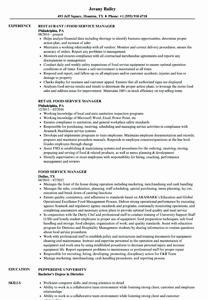 Food Service Manager Resume Awesome Food Service Manager Resume – Thrifdecorblog