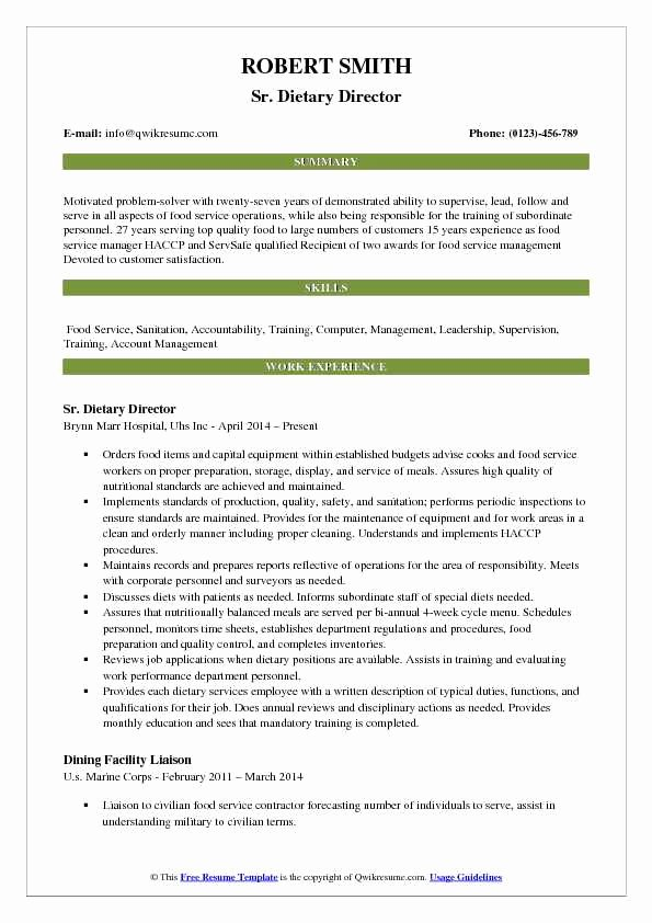 Food Service Manager Resume Inspirational Dietary Director Resume Samples