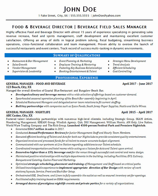 Food Service Manager Resume Inspirational Food Beverage Manager Resume Example Restaurant & Bar Sales