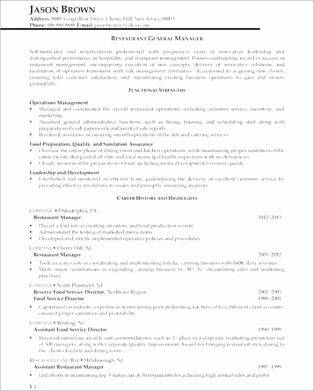 Food Service Manager Resume Luxury 10 Food Service Manager Resume Sample