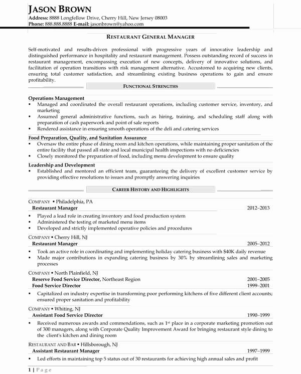 Food Service Manager Resume Luxury Food Service Manager Resume