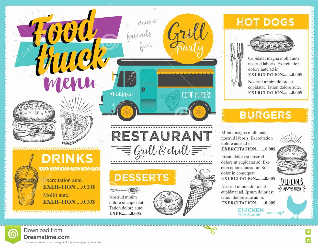 Food Truck Menu Template Awesome Food Truck Party Invitation Food Menu Template Design Stock Vector Illustration Of Board