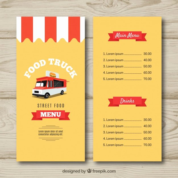Food Truck Menu Template Beautiful Food Truck Menu Template Vector