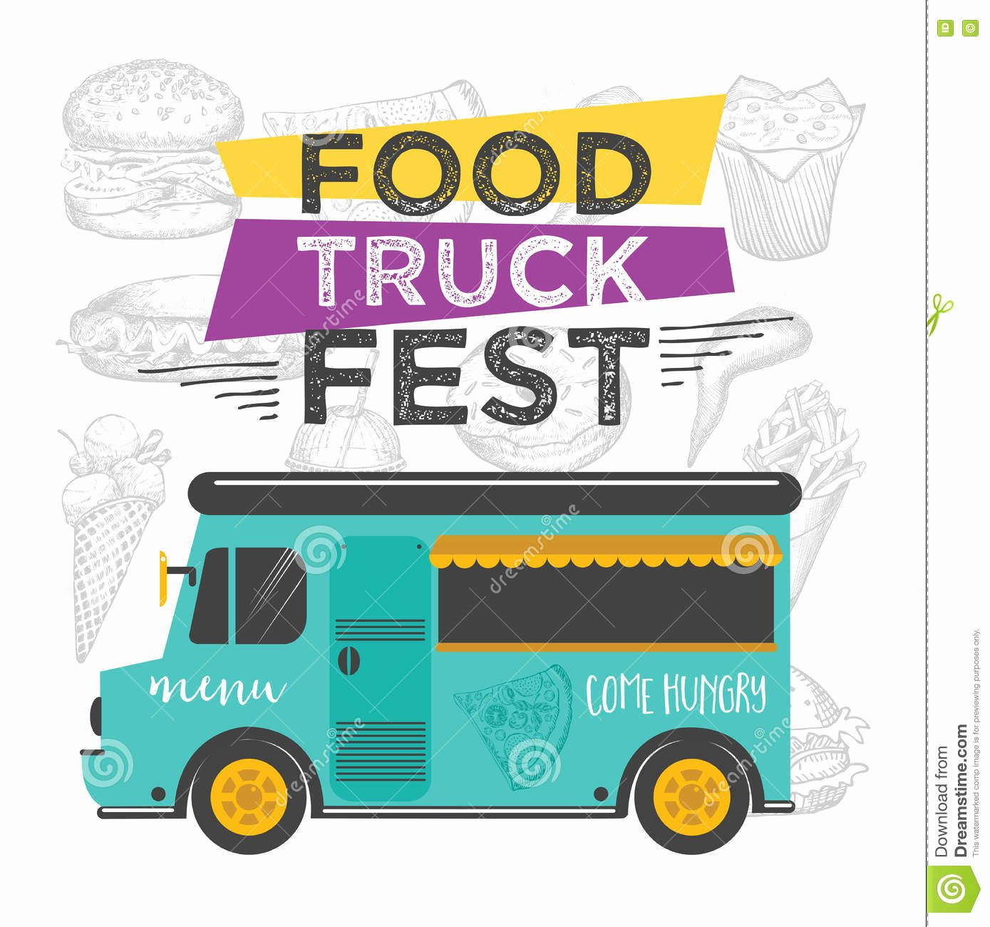 Food Truck Menu Template Beautiful Food Truck Party Invitation Food Menu Template Design Food Fly Stock Vector Image