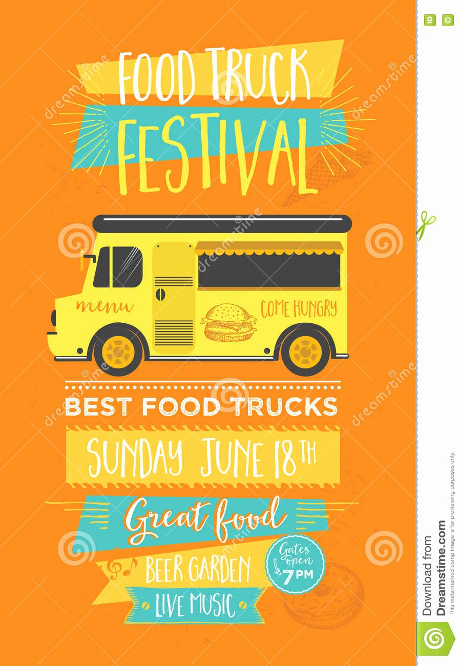 Food Truck Menu Template Beautiful Food Truck Template Vector Illustration
