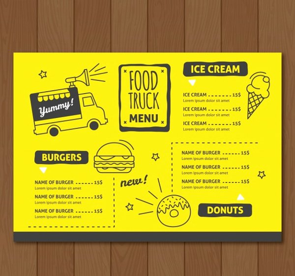 Food Truck Menu Template Best Of 20 Food Truck Menu Templates Free Premium Psd Vector Downloads