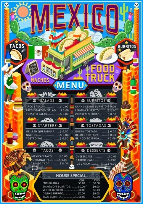 Food Truck Menu Template Elegant Mexican Menu Template Food Truck Menu Food Truck