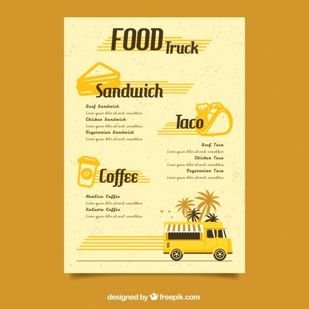 Food Truck Menu Template Fresh Retro Food Truck Menu Template Vector