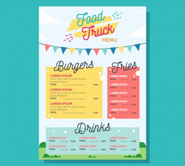 Food Truck Menu Template Inspirational 20 Food Truck Menu Templates Free Premium Psd Vector Downloads