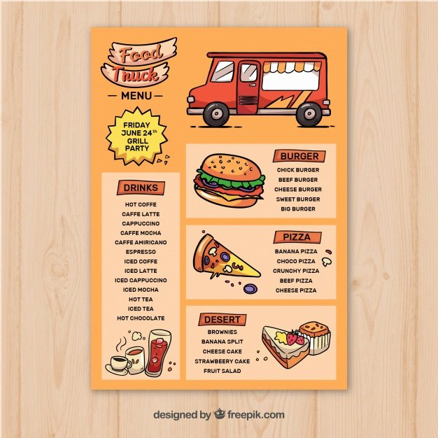 Food Truck Menu Template Lovely Hand Drawn Food Truck Menu Template Vector