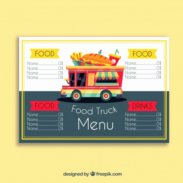 Food Truck Menu Template New Food Truck Menu with Sandwich Vector