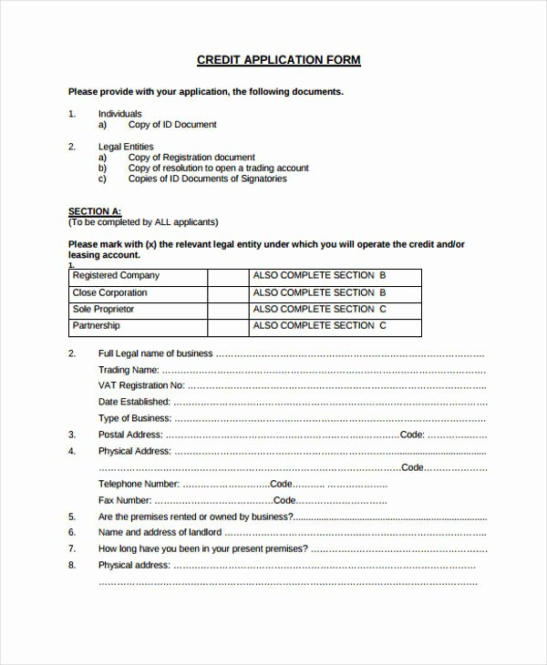 Ford Credit Application Pdf Awesome 26 Credit Application form In Pdf