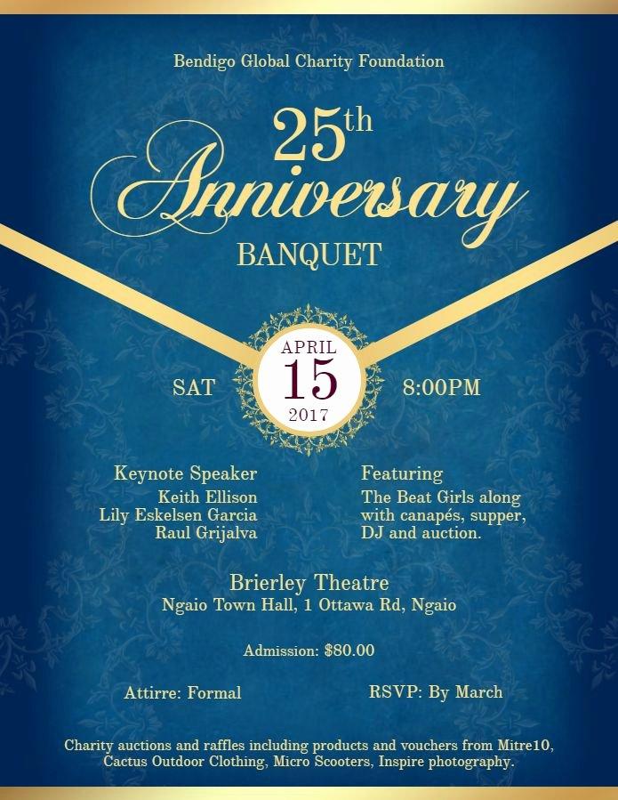 Formal Dinner Invitations Templates Elegant Anniversary formal Banquet Dinner Invitation Flyer Template Royal Blue