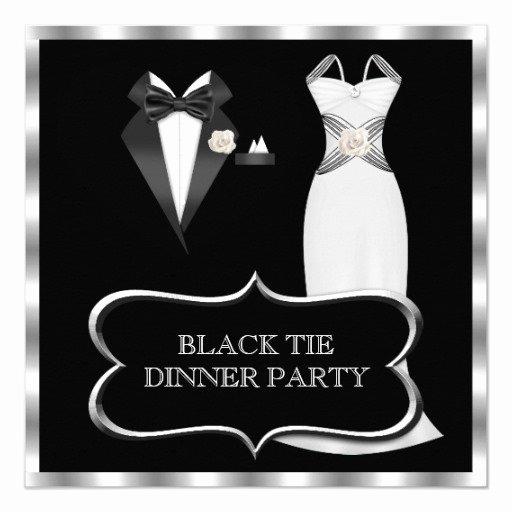 Formal Dinner Invitations Templates Lovely formal Dinner Party White Black Tie Invitation