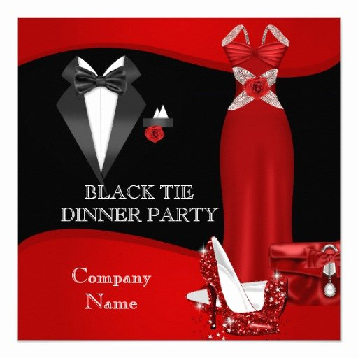 Formal Dinner Invitations Templates New Corporate formal Dinner Party Black Tie Red 3 Invitation