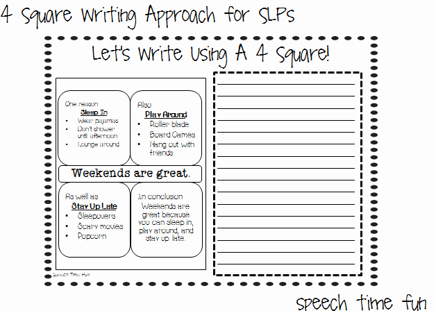 Four Square Graphic organizers Fresh 4 Square Writing Approach for Slps Speech Time Fun Speech and Language Activities