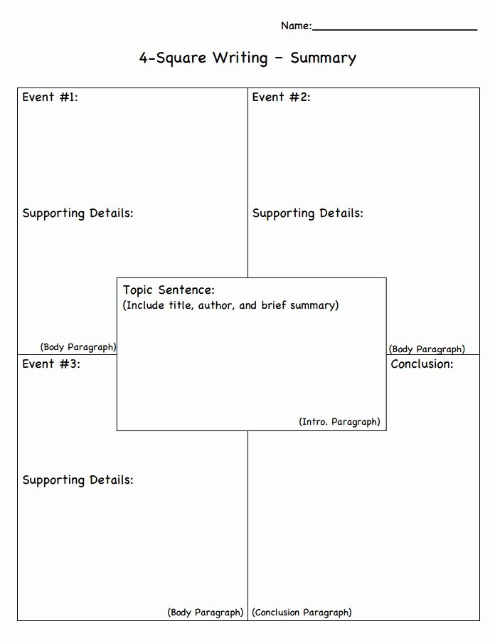 Four Square Graphic organizers Lovely Summary 4 Square Graphic organizer Language Arts Pinterest