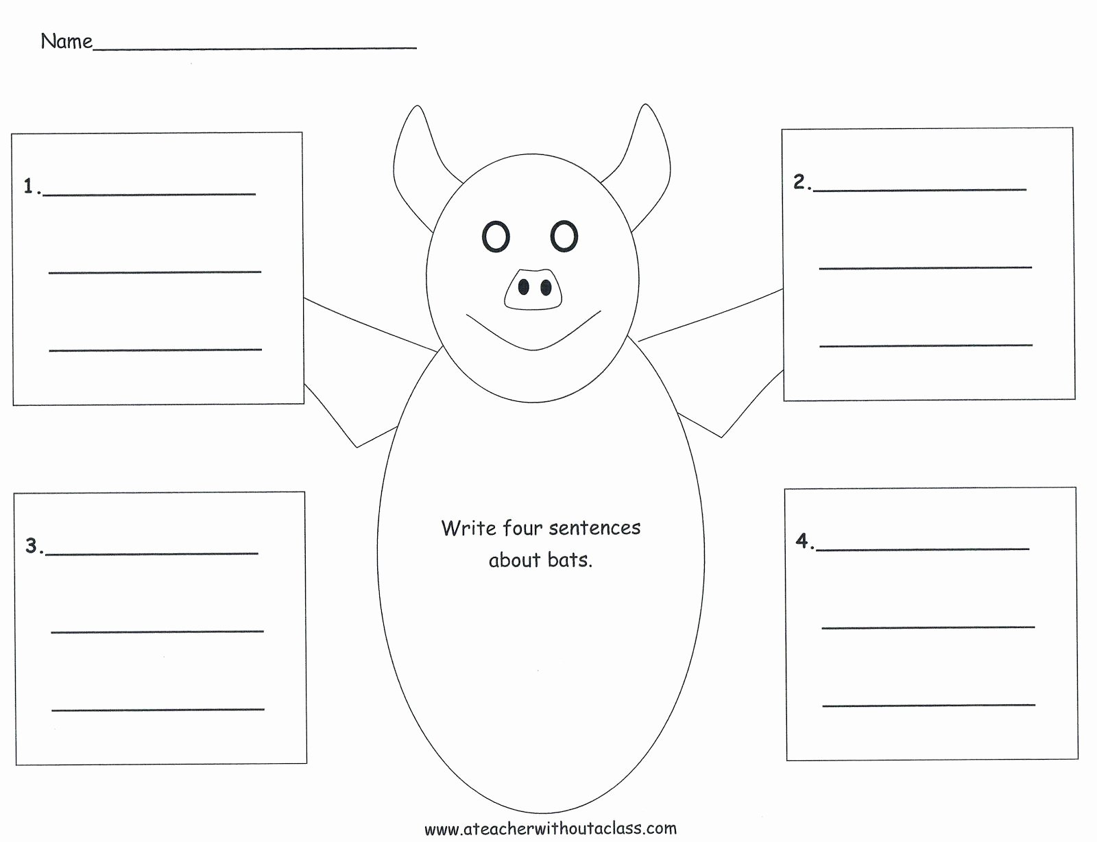 Four Square Graphic organizers New Four Square Writing Template for A Bat Bat Ideas