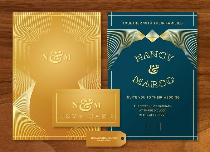 Free Art Deco Templates Awesome Gold Luxury Art Deco Wedding Invitation Vector Template Pack Download Free Vectors Clipart