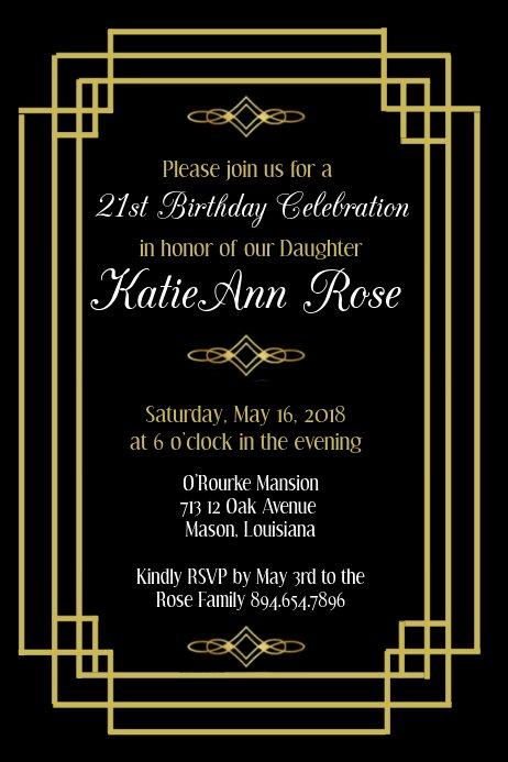 Free Art Deco Templates Beautiful Art Deco Birthday Invitation Template