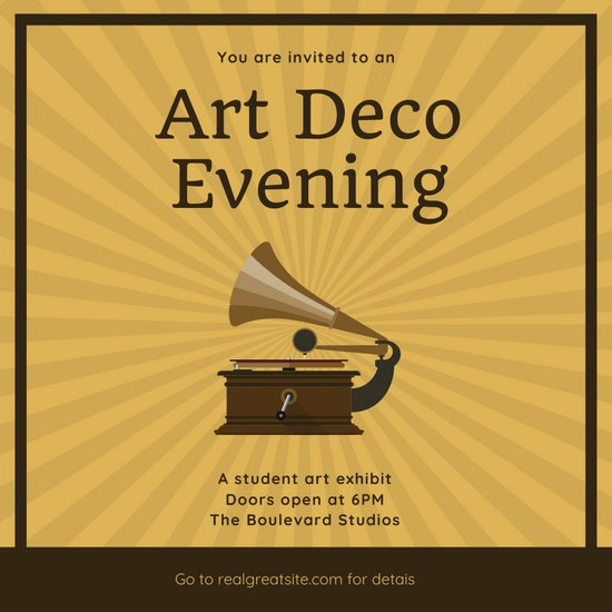 Free Art Deco Templates Best Of Customize 111 Art Deco Invitation Templates Online Canva