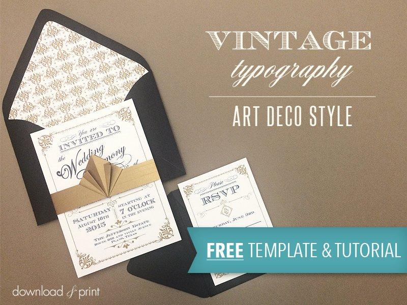 Free Art Deco Templates Elegant Free Template Vintage Wedding Invitation with Art Deco Band