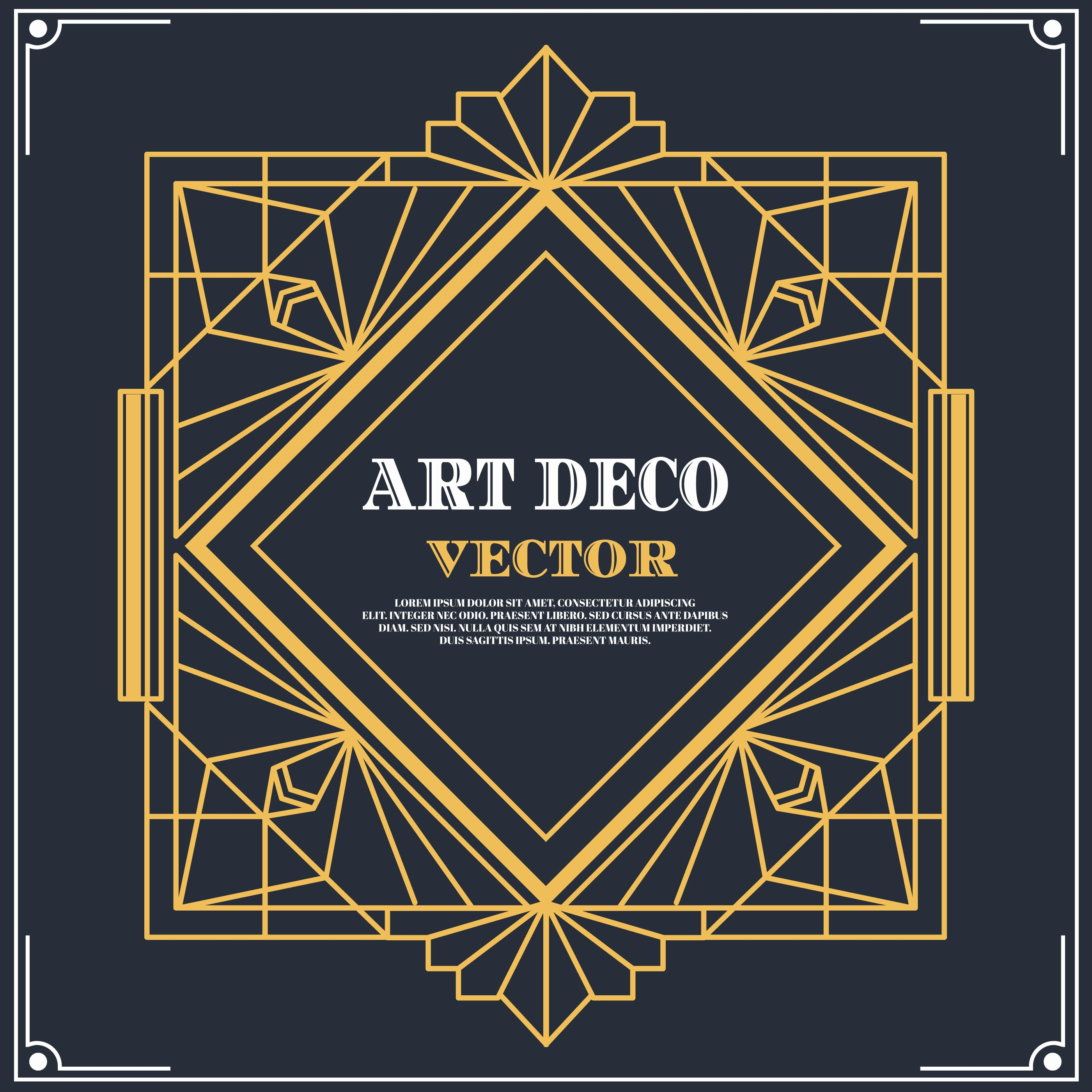 art deco label vector