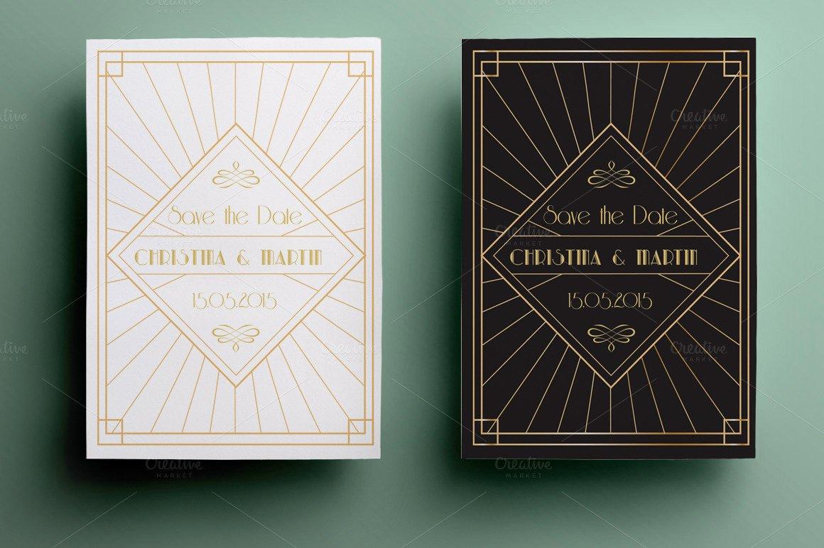 Free Art Deco Templates Inspirational Art Deco Save the Date Ii Card Templates On Creative Market