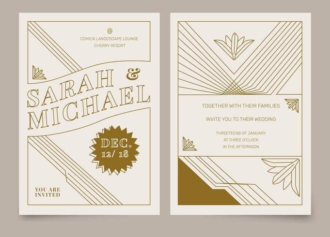 Free Art Deco Templates Luxury Brown Vintage Art Deco Wedding Invitation Vector Template Download Free Vector Art Stock