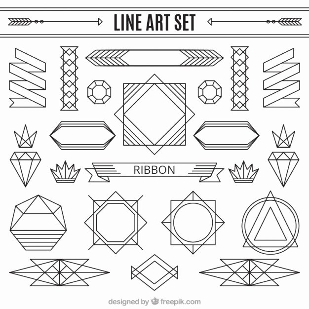 Free Art Deco Vector Beautiful Line ornaments Set Vector