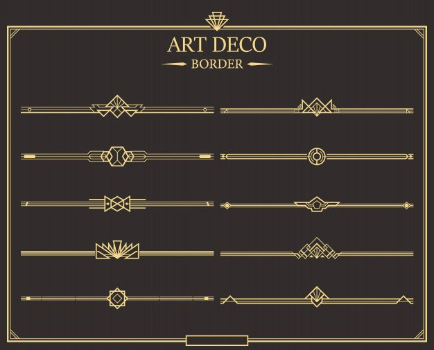 Free Art Deco Vector Elegant Set Of Art Deco Gold Calligraphic Page Dividers Vector