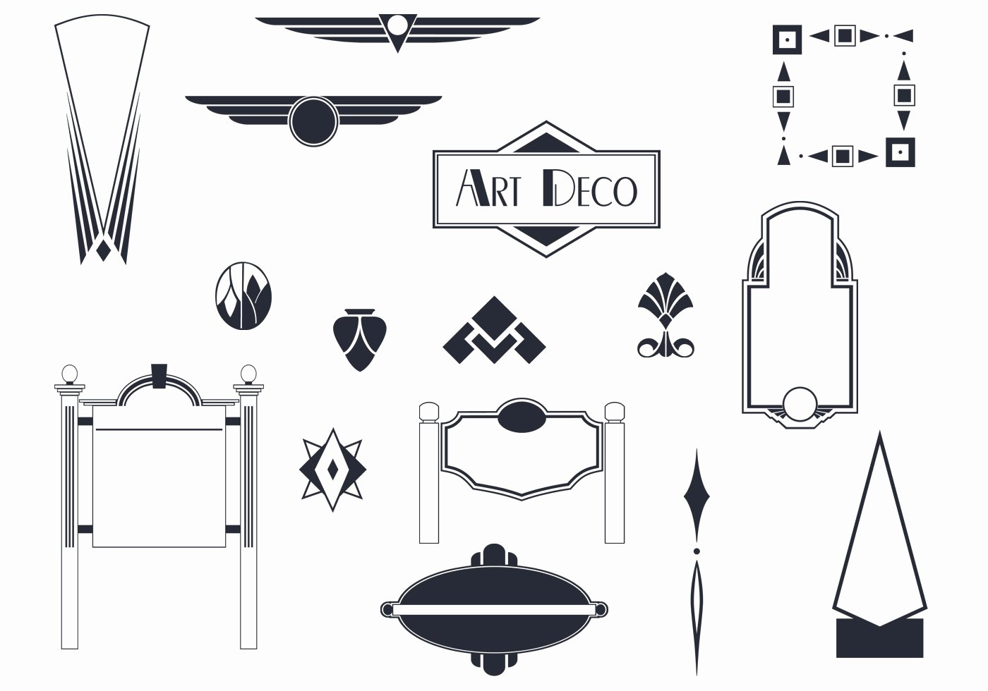 Free Art Deco Vector Lovely Art Deco Signs and ornaments Vectors Download Free Vectors Clipart Graphics & Vector Art