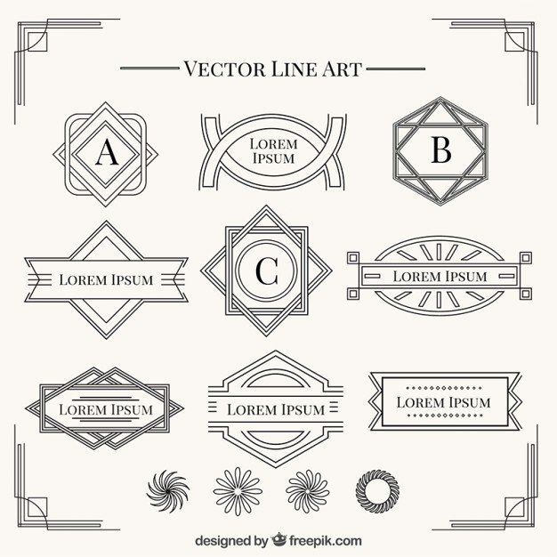 Free Art Deco Vector Lovely Shapes In Art Deco Style Collection Vector