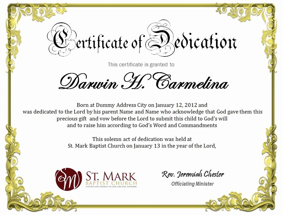 Free Baby Dedication Certificate Awesome Baby Dedication Certificate