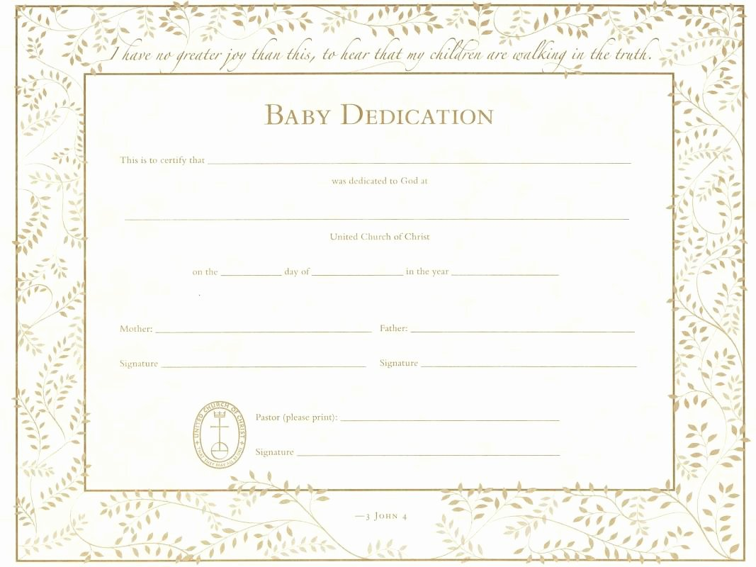 Free Baby Dedication Certificate Inspirational Baby Dedication Certificate