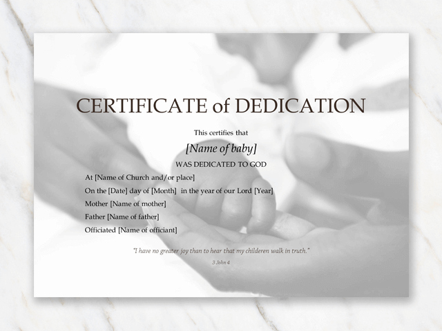 Free Baby Dedication Certificate Inspirational Free Word Templates and Pdf Printables