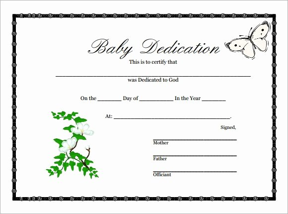 Free Baby Dedication Certificate Lovely 10 Sample Printable Baby Dedication Certificate Templates In Pdf Psd