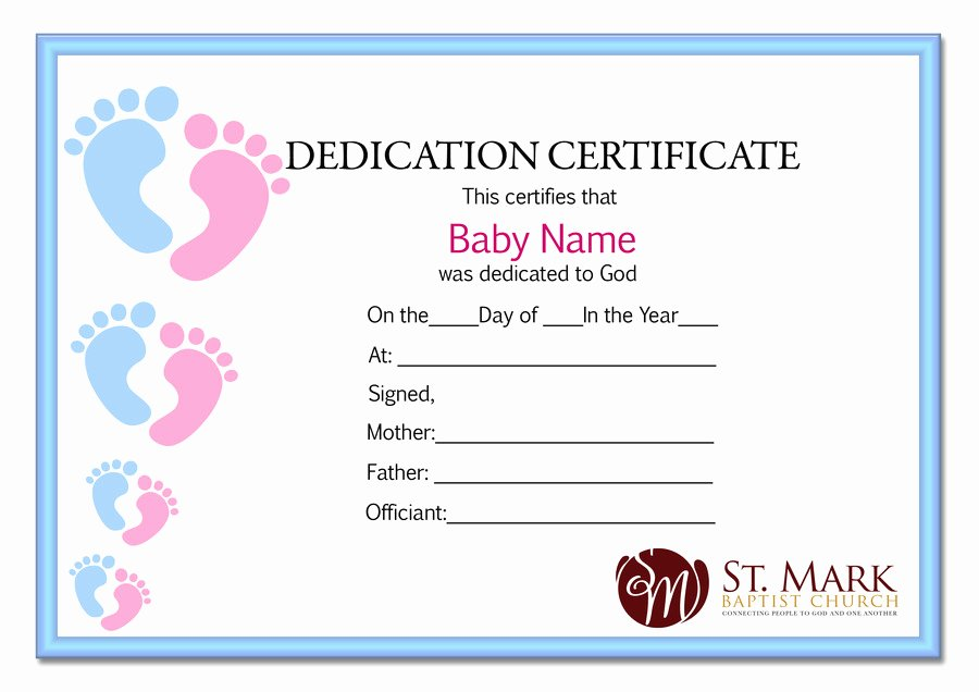 Free Baby Dedication Certificate Luxury Baby Dedication Certificate