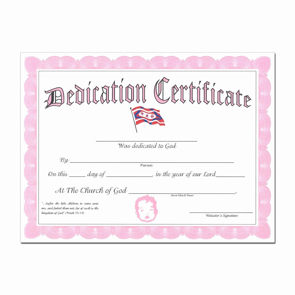 Free Baby Dedication Certificate New Baby Dedication Certificate