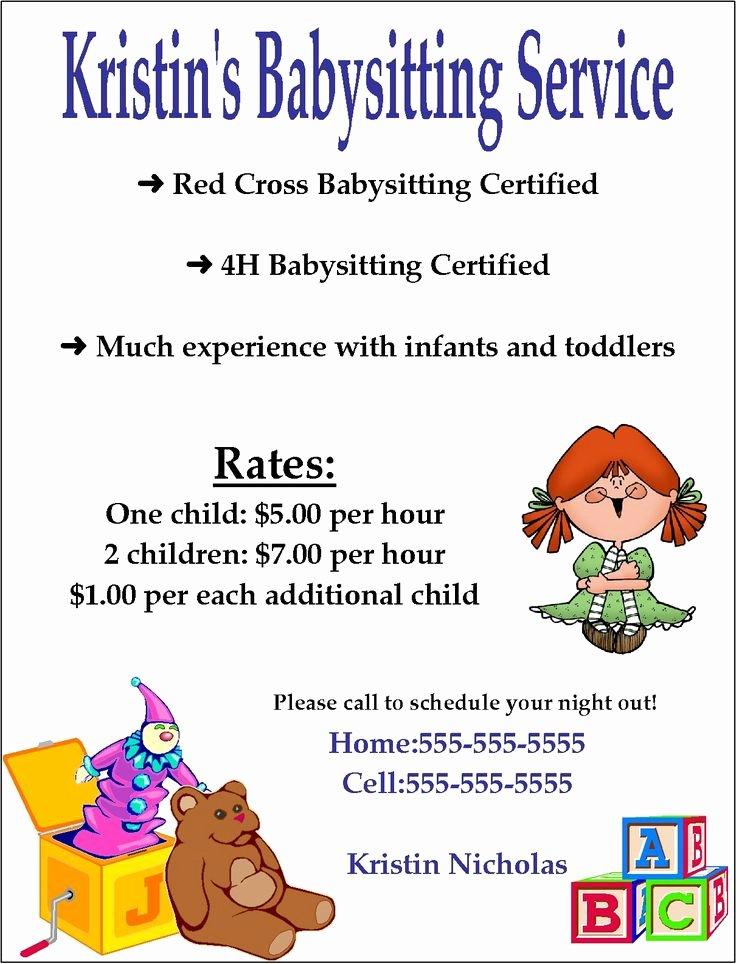 Free Babysitting Flyer Template Best Of 10 Best Babysitting Flyer Template Images On Pinterest