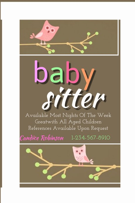 Free Babysitting Flyer Template Elegant Baby Sitting Flyer Template